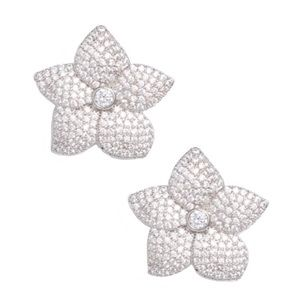 KATE SPADE • Silver Blooming Pavé Crystal Earrings